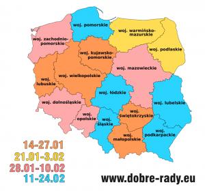 Mapa z terminami ferii 2019 w polskich województwach