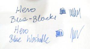 Atrament do pióra Hero Blue-Black i Hero Blue-Washable - próbka