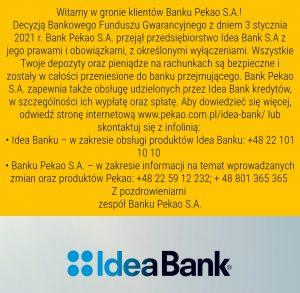 Idea Bank przejęty przez Pekao